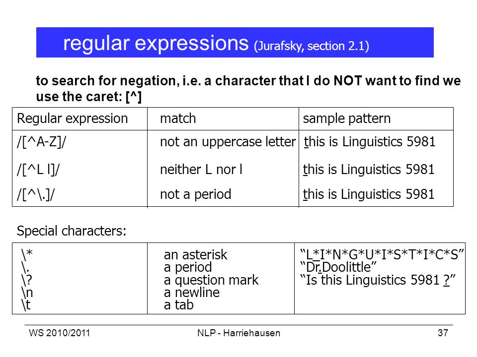 regular expressions (Jurafsky, section 2.1)