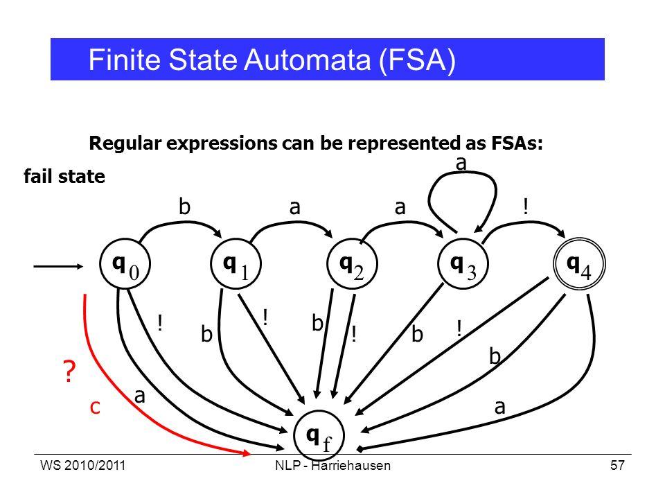 Finite State Automata (FSA) a b a a ! q q q q q 1 2 3 4 ! ! b ! b !