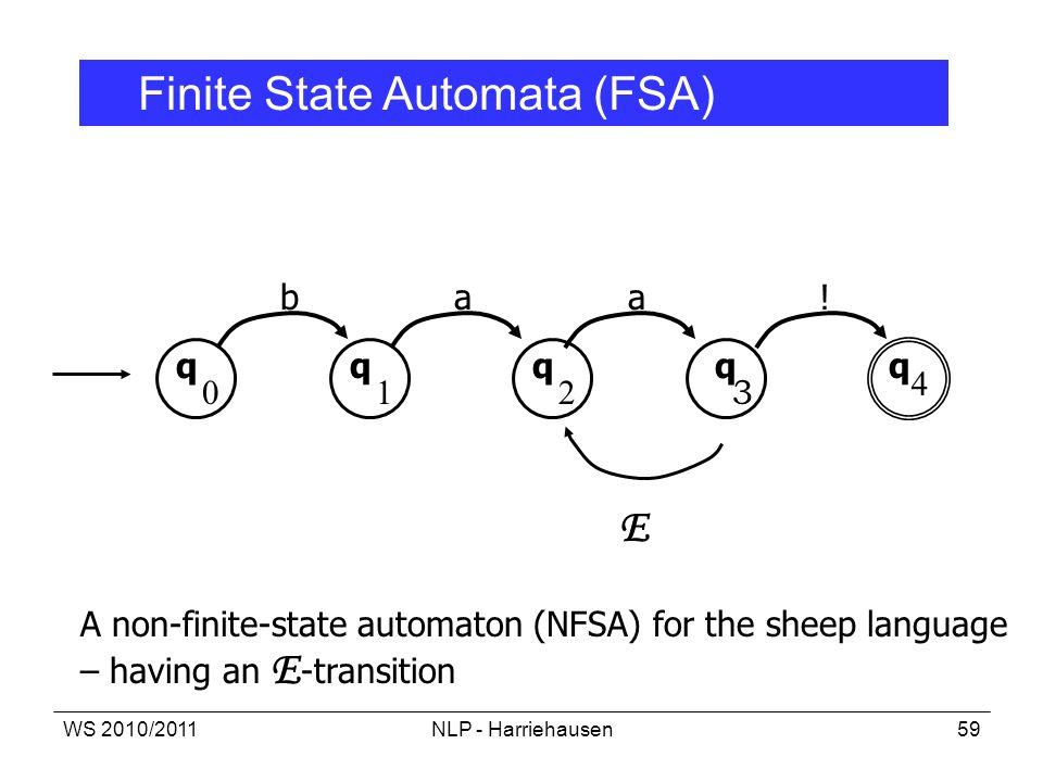 E Finite State Automata (FSA) b a a ! q q q q q 4 1 2 3