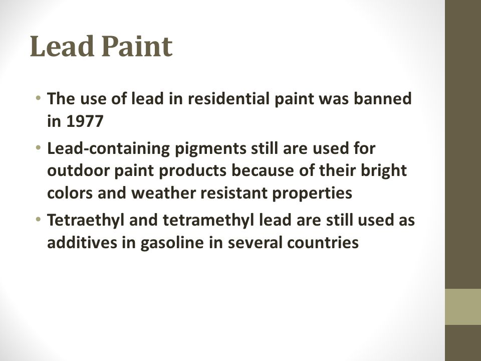 H r sarreshtahdar md occupational medicine specialist for When was lead paint banned