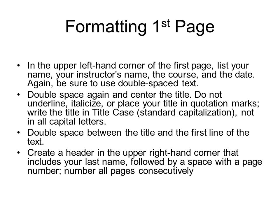Formatting 1st Page