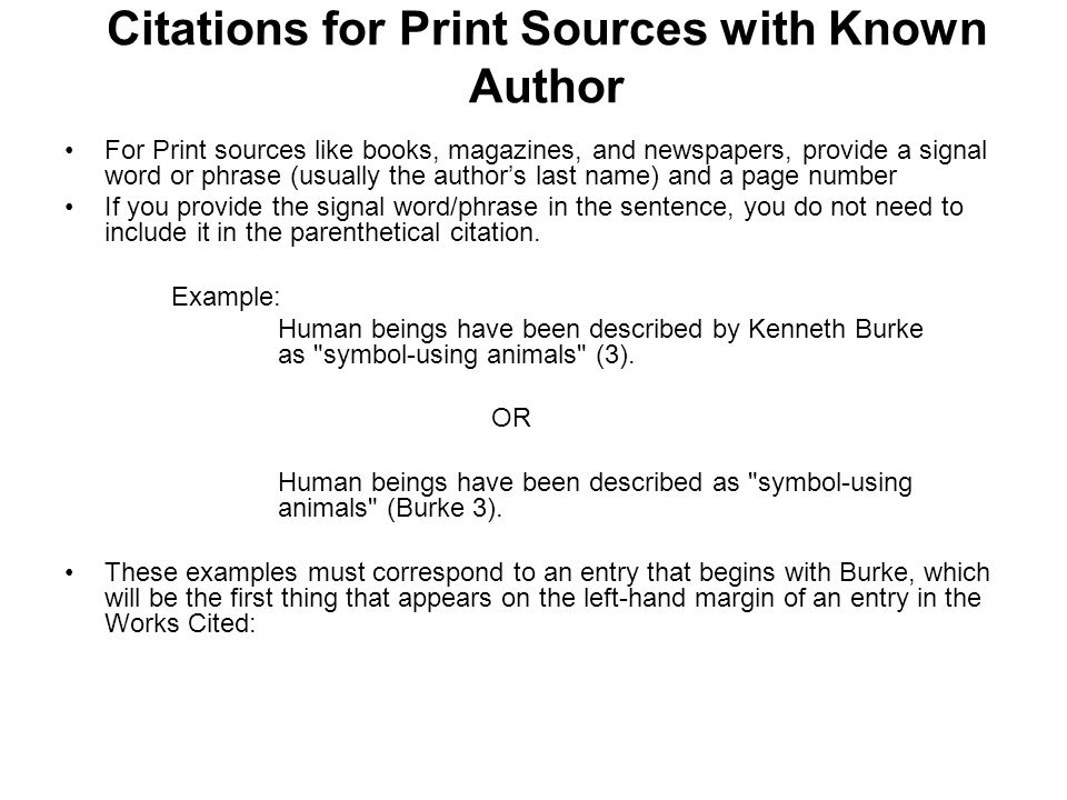 Citations for Print Sources with Known Author