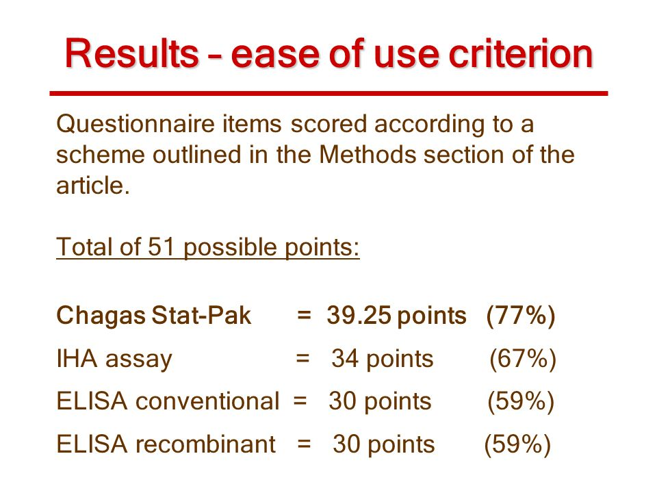 Results – ease of use criterion