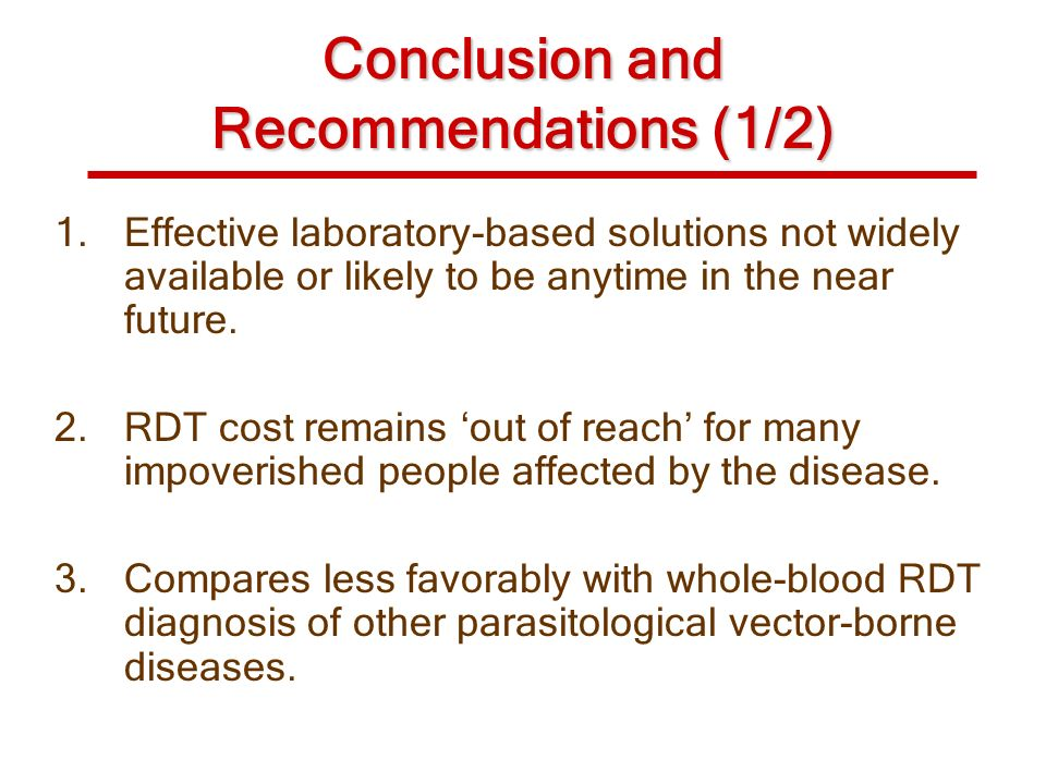 Conclusion and Recommendations (1/2)