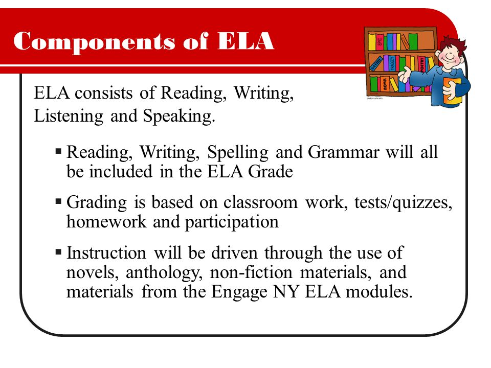 Components of ELA ELA consists of Reading, Writing, Listening and Speaking.