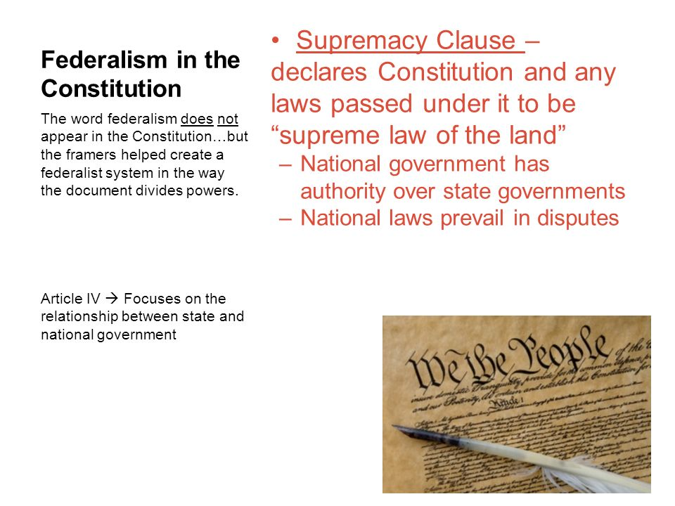 Federalism A system in which powers are divided between national ...