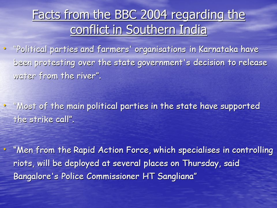 Facts from the BBC 2004 regarding the conflict in Southern India