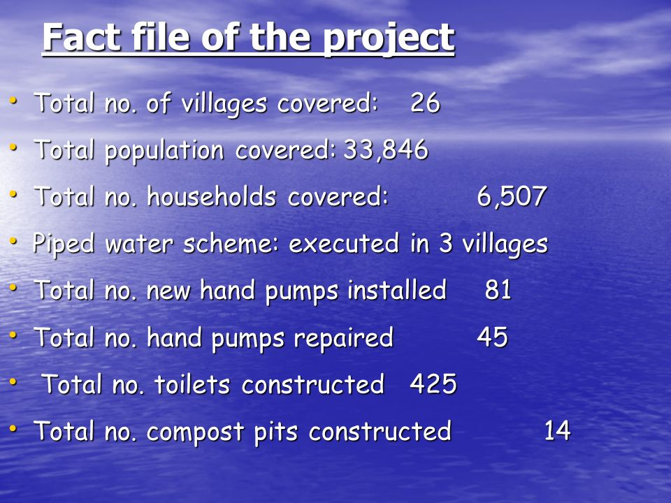 Fact file of the project