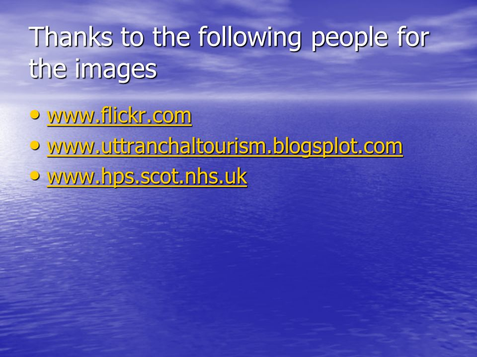 Thanks to the following people for the images