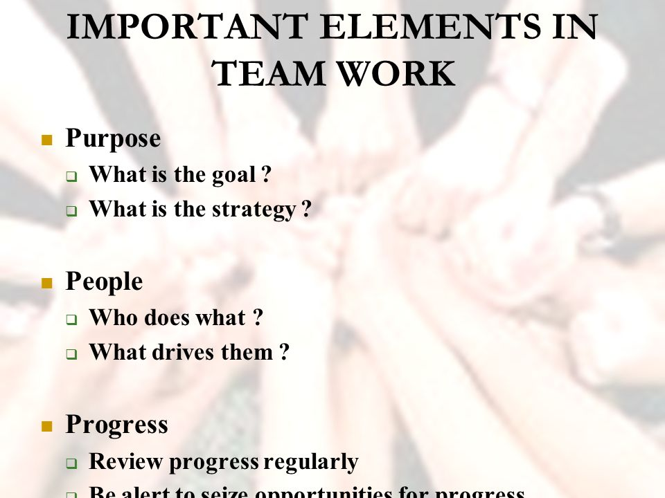 describe the purpose and objective of the team which they work What is it  they skillfully combine appropriate individual talents with a positive  team spirit to  greater interpersonal skills are necessary if you are to work  together  lack of common goals and philosophy disloyalty to staff and  organization  sure the combined purpose and importance of the team's work is  understood.
