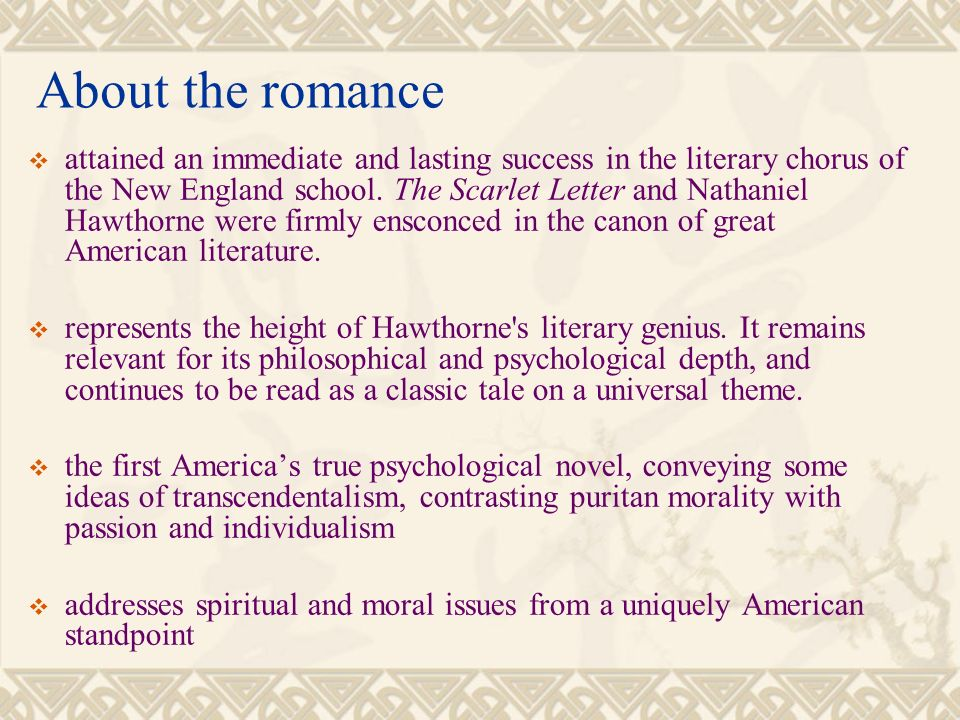 psychological perspective of the scarlet letter The persistence of theocracy hawthorne's the scarlet letter hawthorne's own romances have a clearly psychological focus.