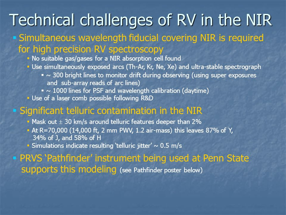 Technical challenges of RV in the NIR
