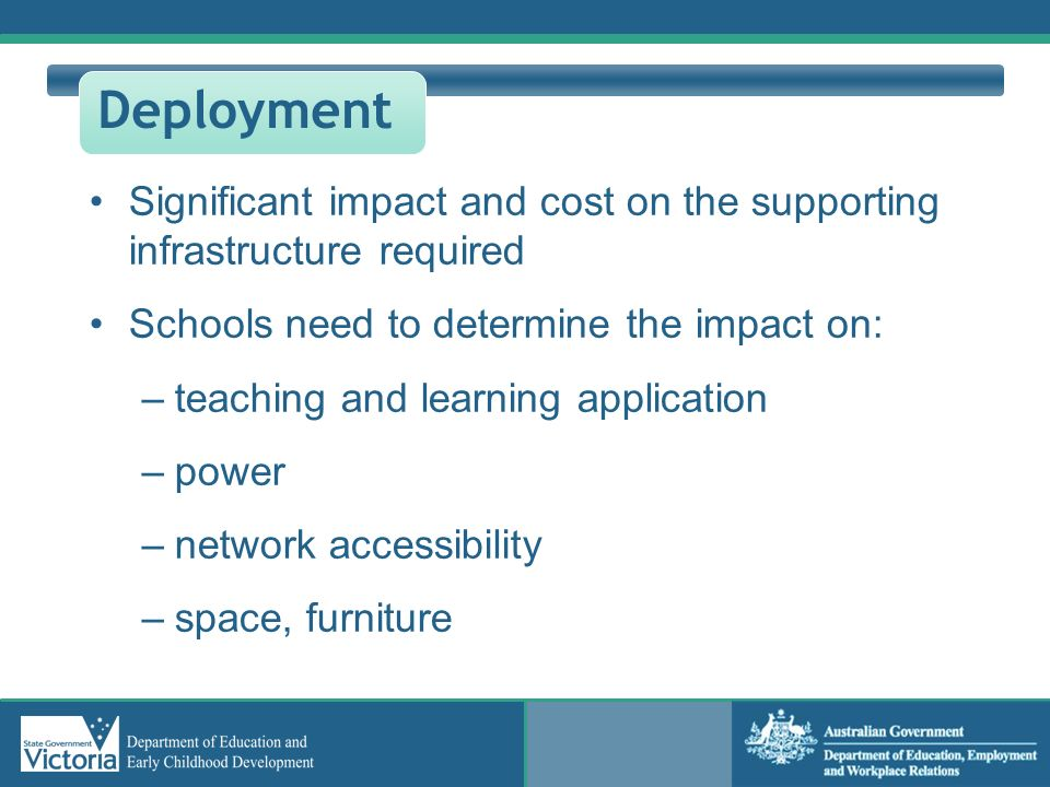 Deployment Significant impact and cost on the supporting infrastructure required. Schools need to determine the impact on: