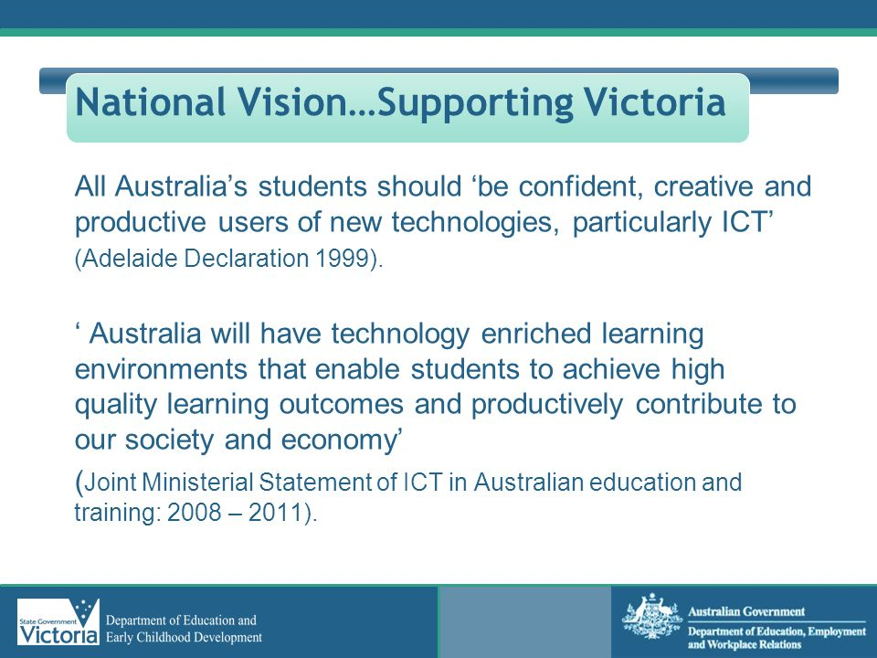 National Vision…Supporting Victoria