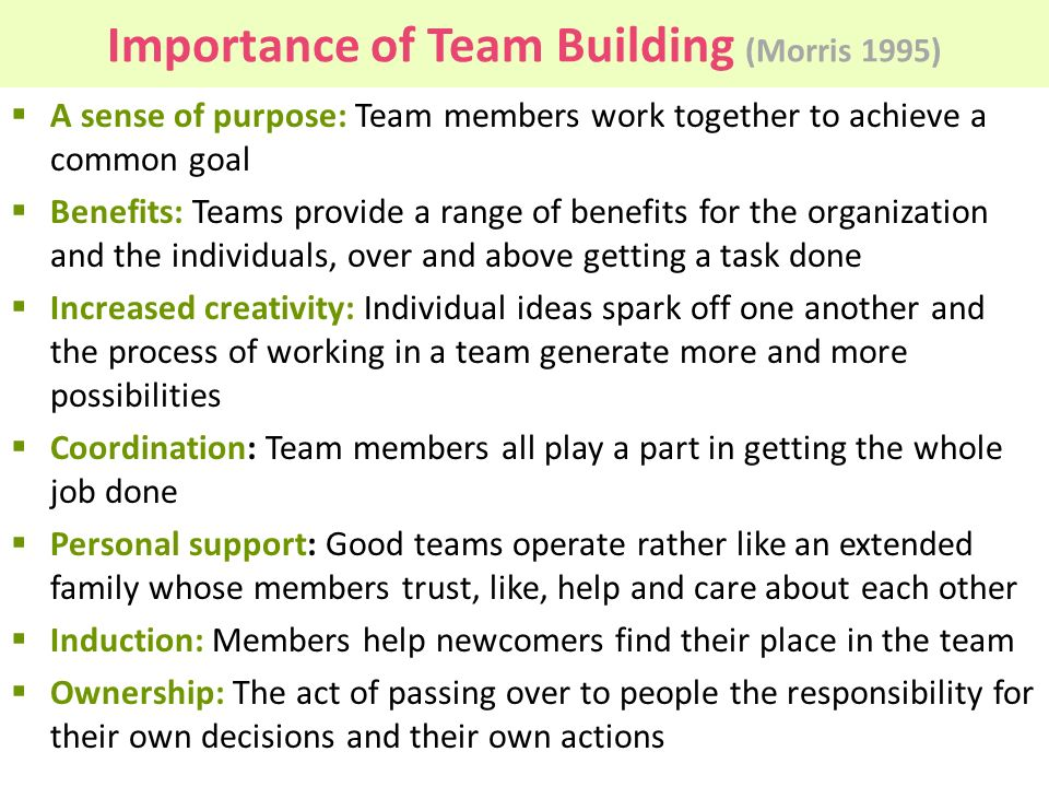 the benefits of team building at Advantages of team building activities  the advantages of team building activities include benefits for both individual employees and the wider company they work in.