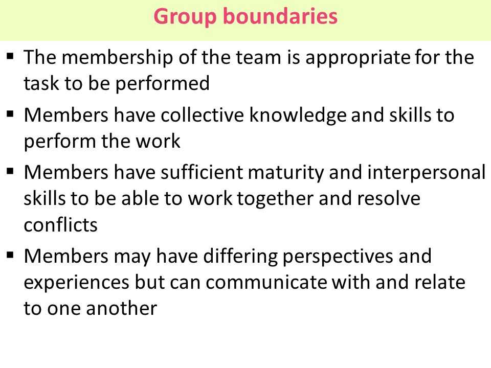 Group boundaries The membership of the team is appropriate for the task to be performed.