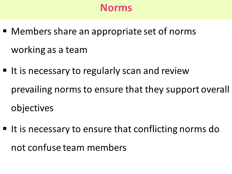 Norms Members share an appropriate set of norms working as a team