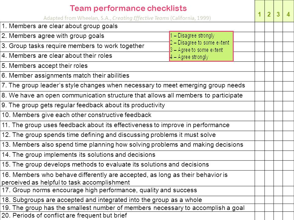 Team performance checklists