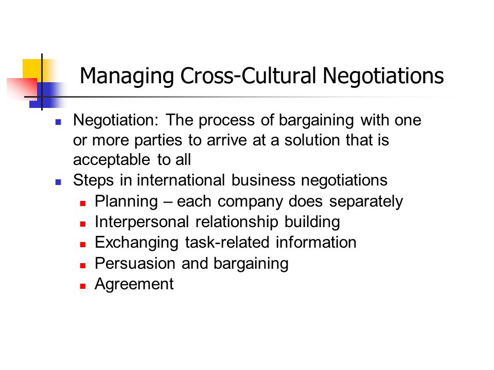 business negotiation a cross cultural perspective Because of the lack of good studies that take an intercultural approach (using a   it should be applied to negotiations outside commercial settings with care, but  it is  another complication is that much of the cross-cultural negotiation literature .