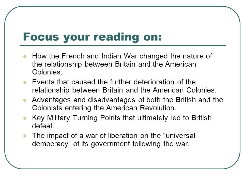 Relations between colonies and britain essay