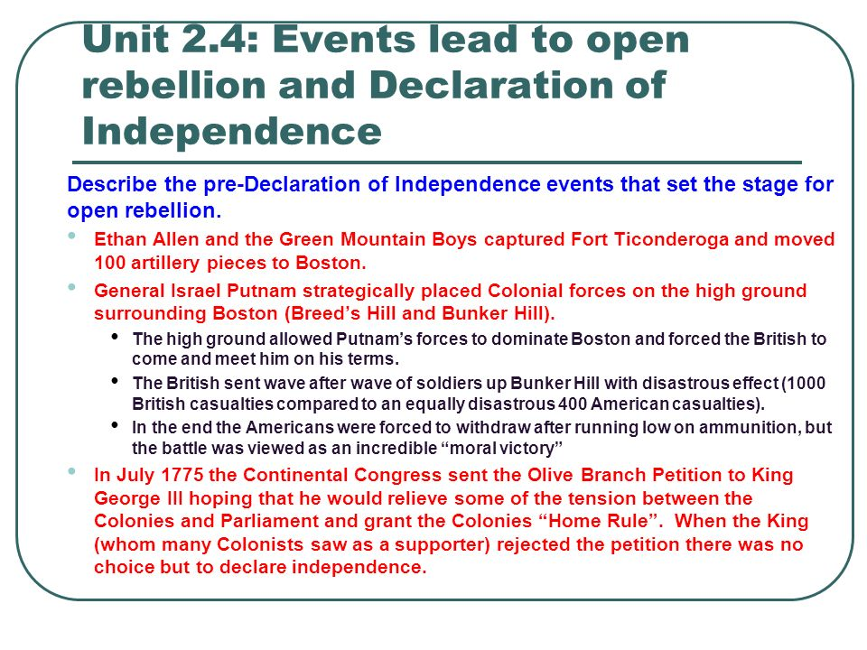 The Events Leading to Independence