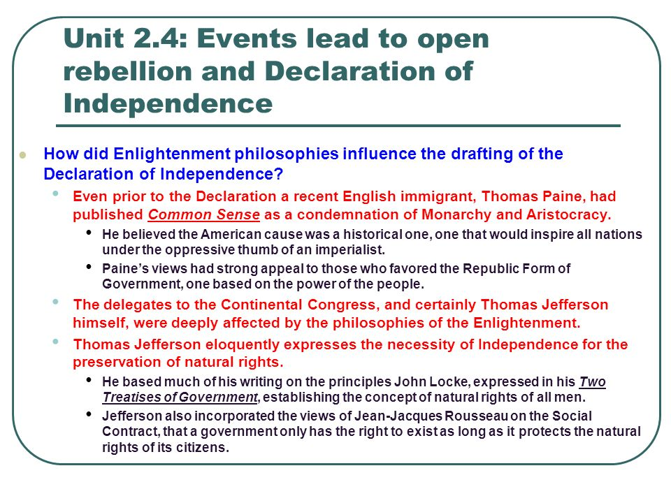 an examination of rousseaus influence on jeffersons declaration of independence French translations and reception of the declaration of independence  from the concept of mankind, thomas jefferson's declaration shifts to the word people, a.