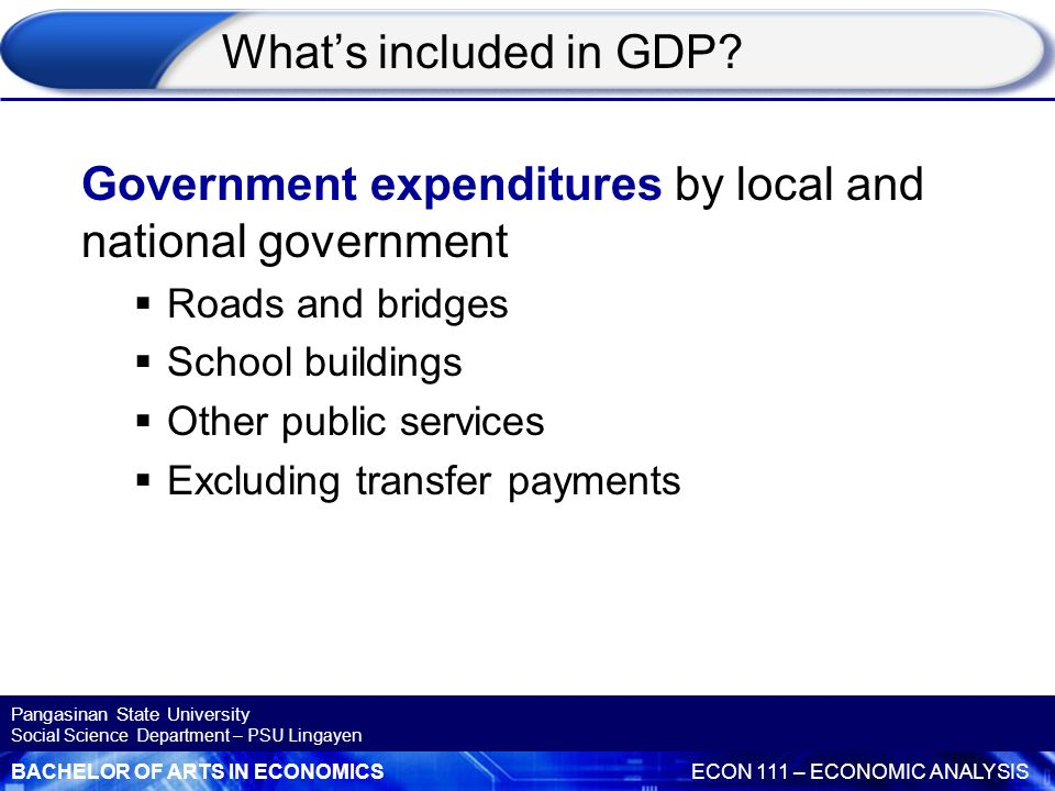 Government expenditures by local and national government
