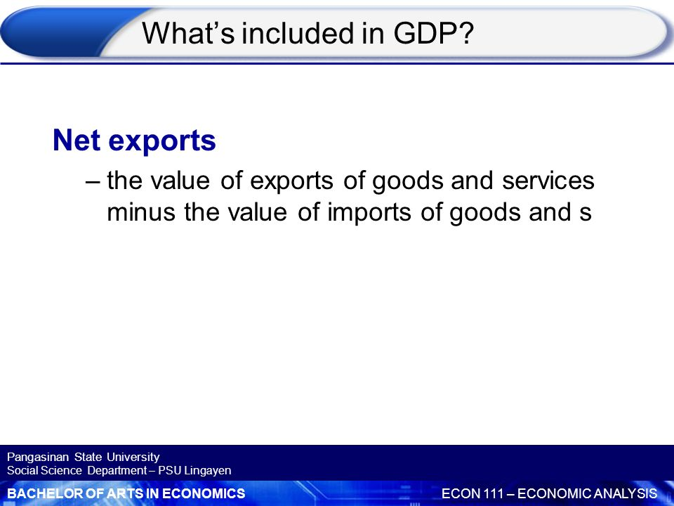 What's included in GDP Net exports
