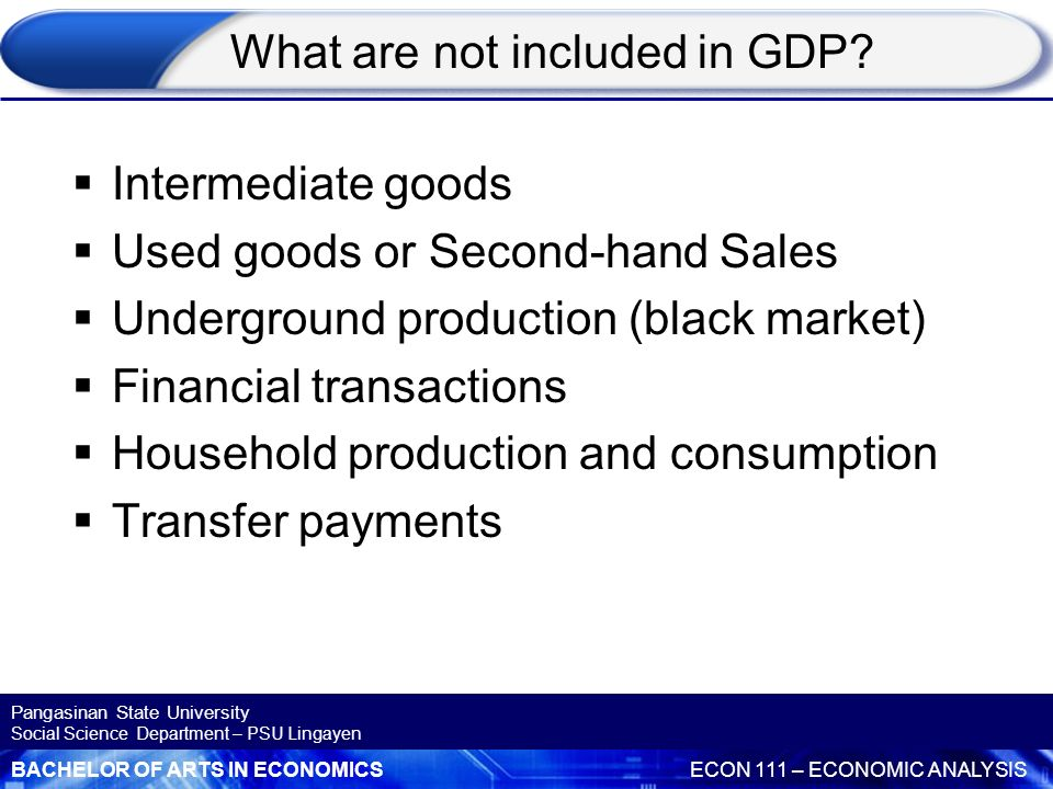What are not included in GDP