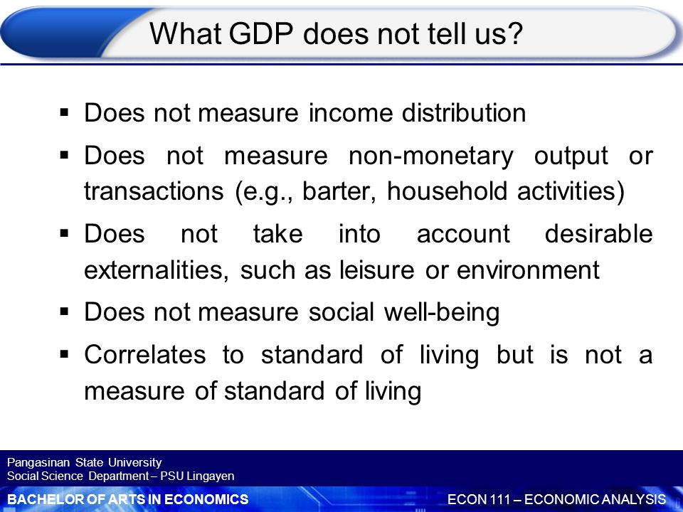 What GDP does not tell us