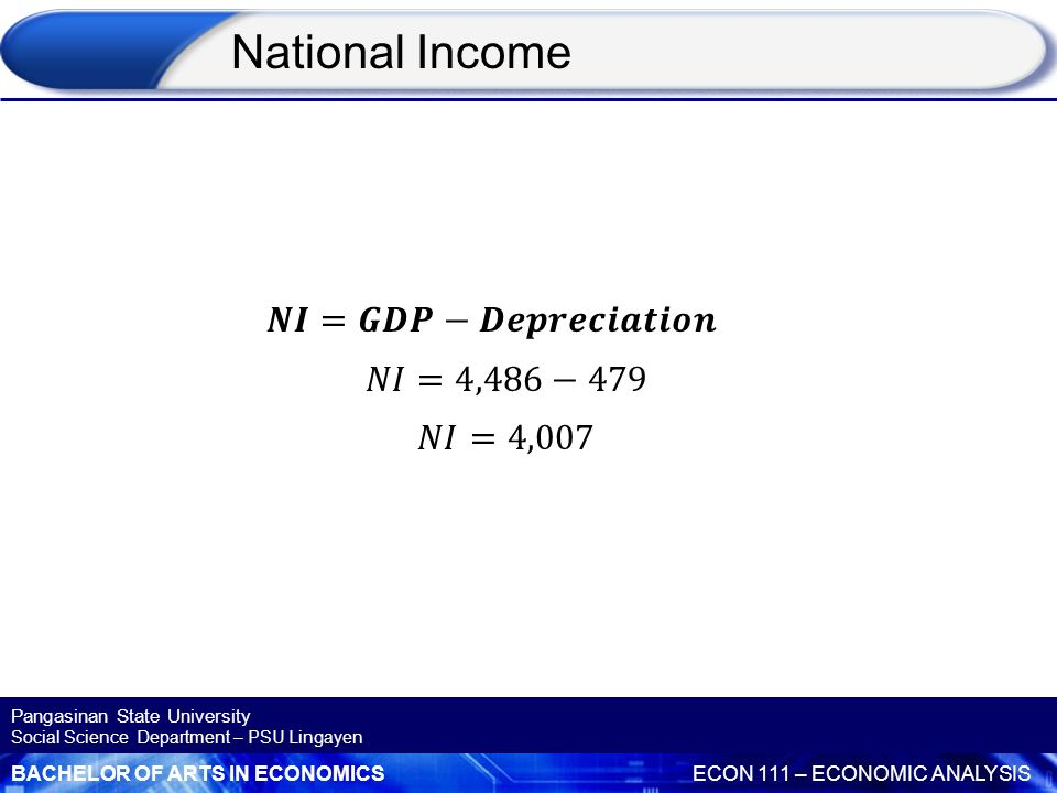 National Income 𝑵𝑰=𝑮𝑫𝑷−𝑫𝒆𝒑𝒓𝒆𝒄𝒊𝒂𝒕𝒊𝒐𝒏 𝑁𝐼=4,486−479 𝑁𝐼=4,007
