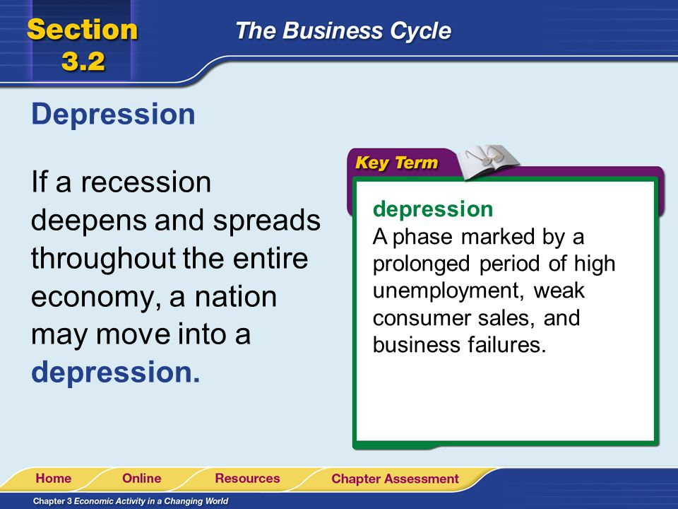 Depression If a recession deepens and spreads throughout the entire economy, a nation may move into a depression.