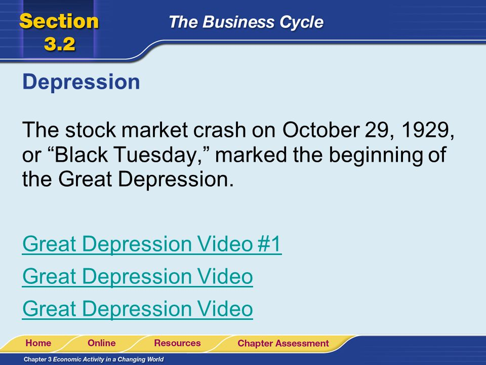 Depression The stock market crash on October 29, 1929, or Black Tuesday, marked the beginning of the Great Depression.