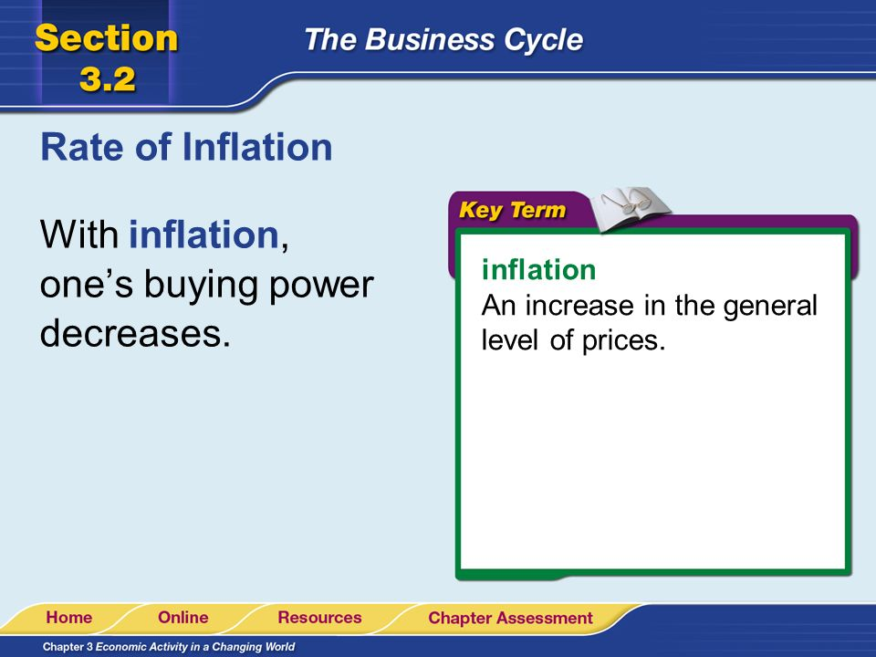 With inflation, one's buying power decreases.