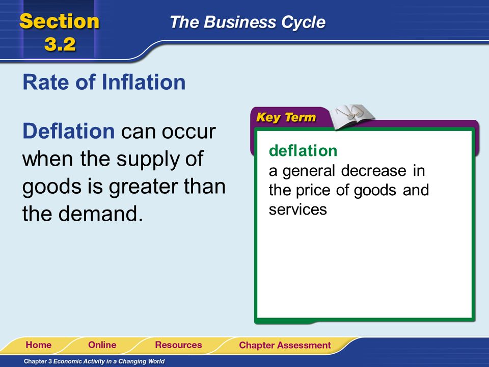 Rate of Inflation Deflation can occur when the supply of goods is greater than the demand. deflation.