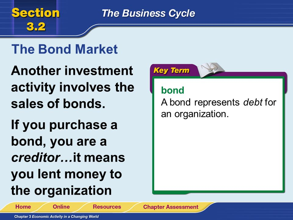Another investment activity involves the sales of bonds.