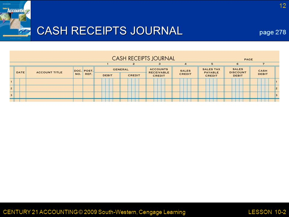 LESSON /21/2017 CASH RECEIPTS JOURNAL page 278 LESSON 10-2