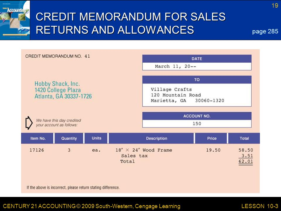 CREDIT MEMORANDUM FOR SALES RETURNS AND ALLOWANCES
