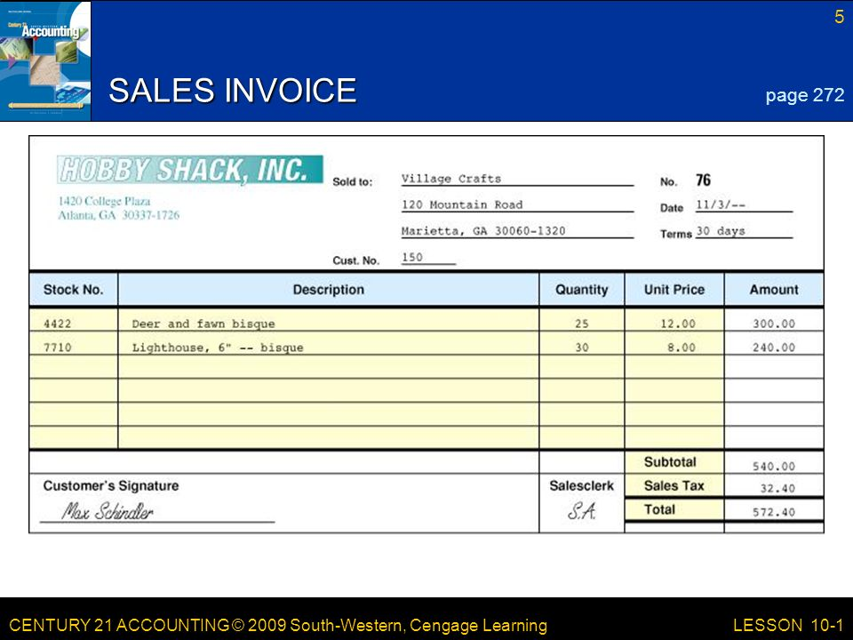 LESSON /21/2017 SALES INVOICE page 272 LESSON 10-1