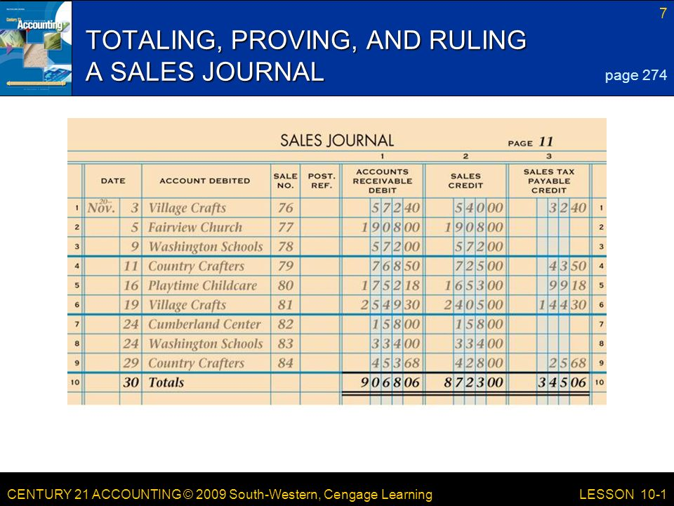 TOTALING, PROVING, AND RULING A SALES JOURNAL