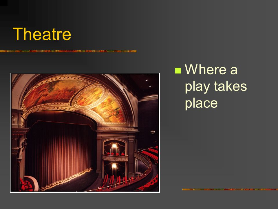 Theatre Where a play takes place