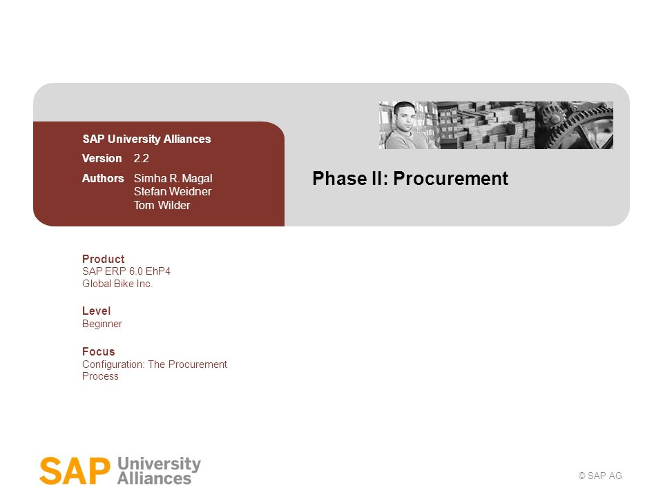 Phase II: Procurement SAP University Alliances Version 2.2