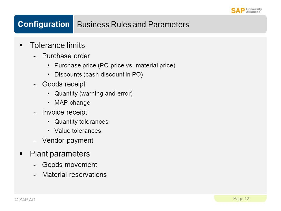 Business Rules and Parameters