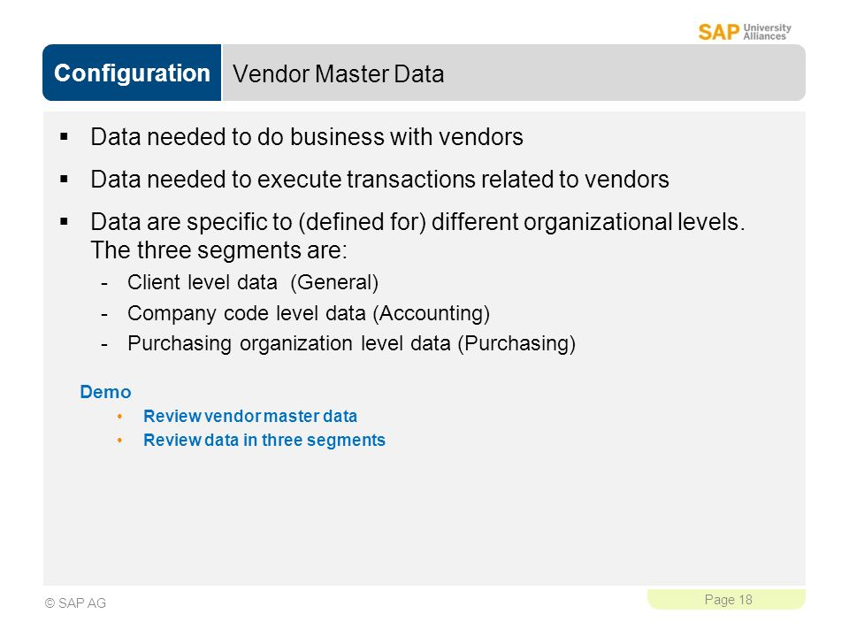 Data needed to do business with vendors