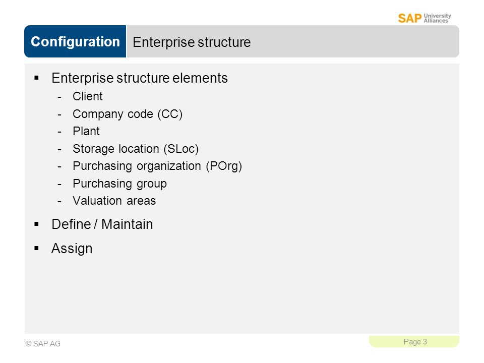 Enterprise structure elements