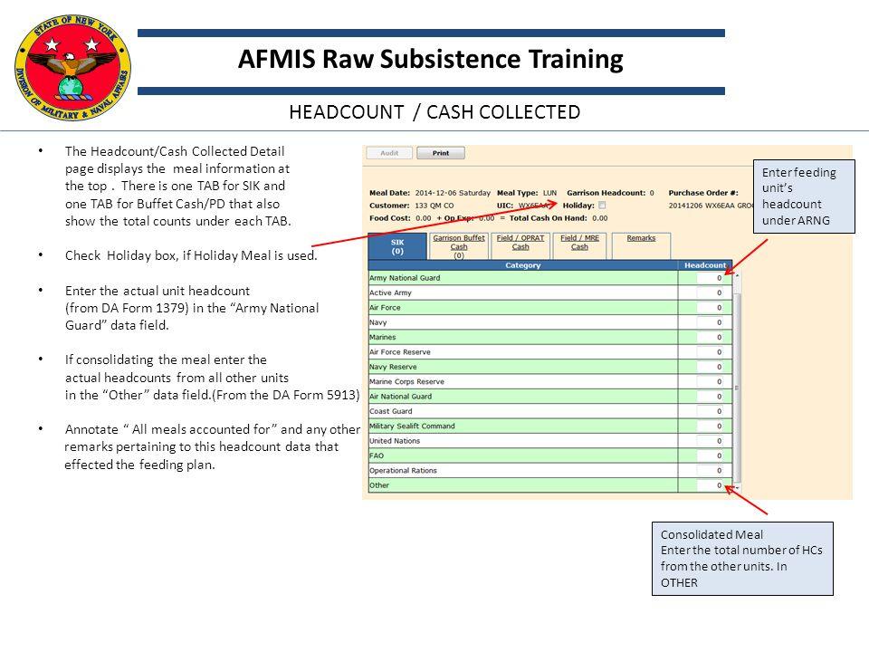 AFMIS Raw subsistence NYARNG AFMIS Training - ppt download