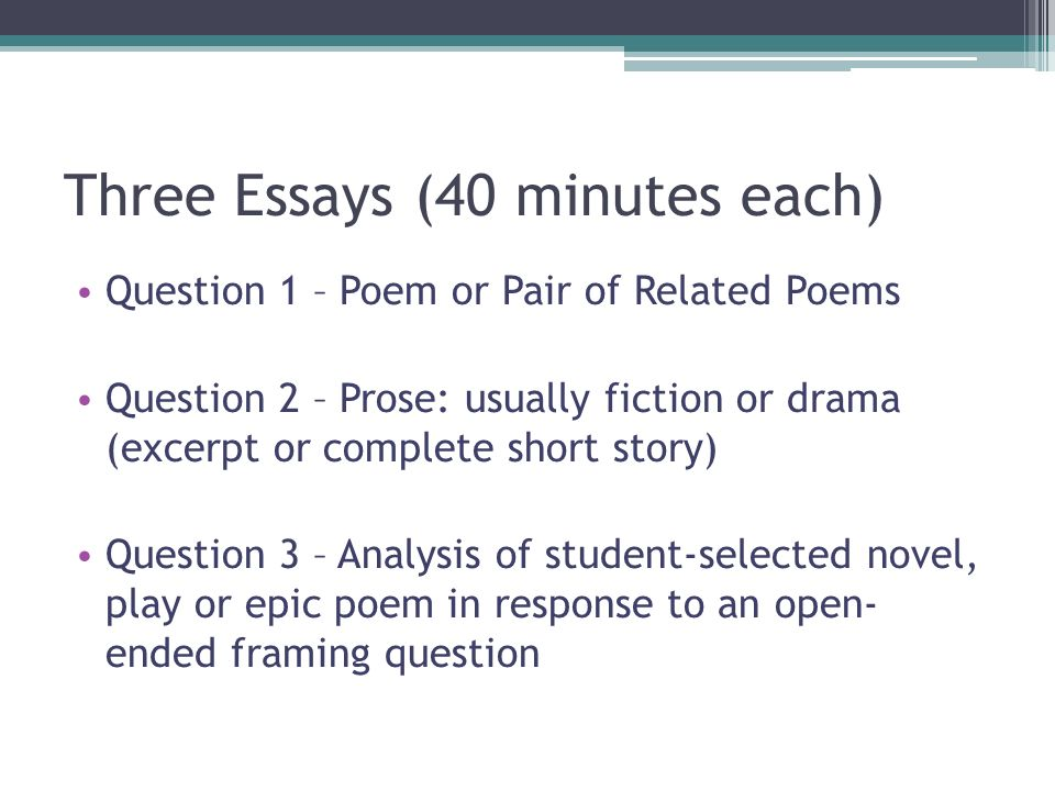 Exceptionnel Three Essays (40 Minutes Each)