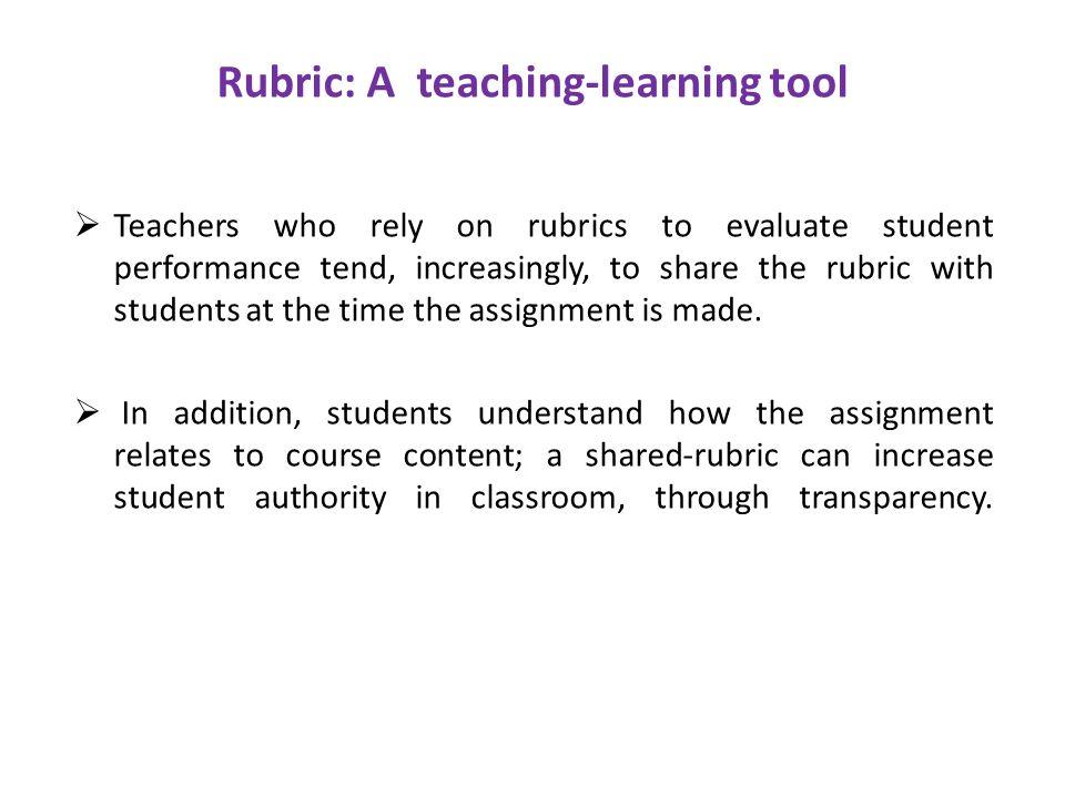 Rubric: A teaching-learning tool