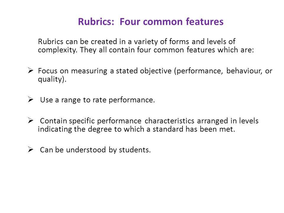 Rubrics: Four common features