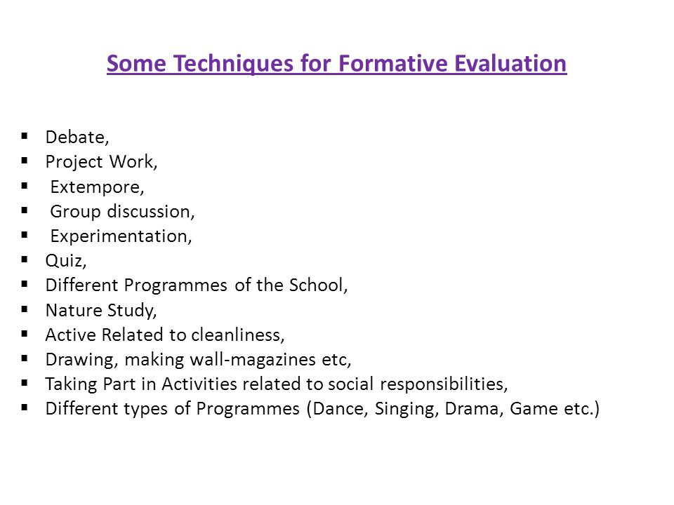 Some Techniques for Formative Evaluation